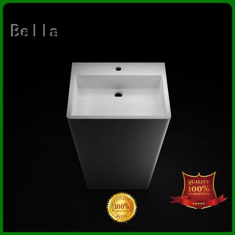 SolidSurface ResinStone pedestal basin Matte Onyx Bella company