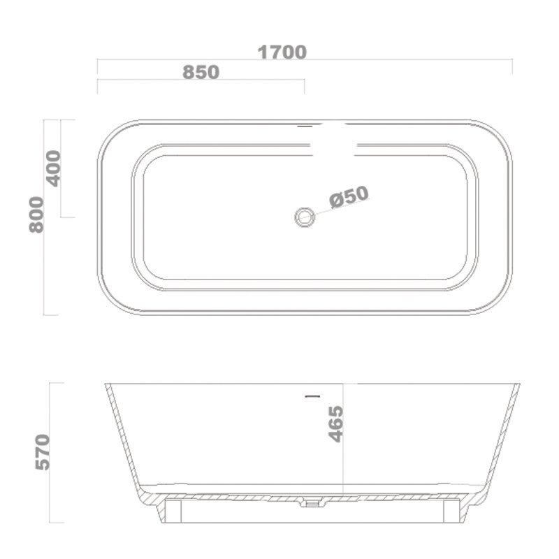 Solid Surface Bathtub BS-S31 1700