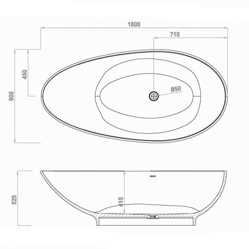 Bella Solid Surface Bathtub BS-S20 1795 Free-standing Bathtubs image21
