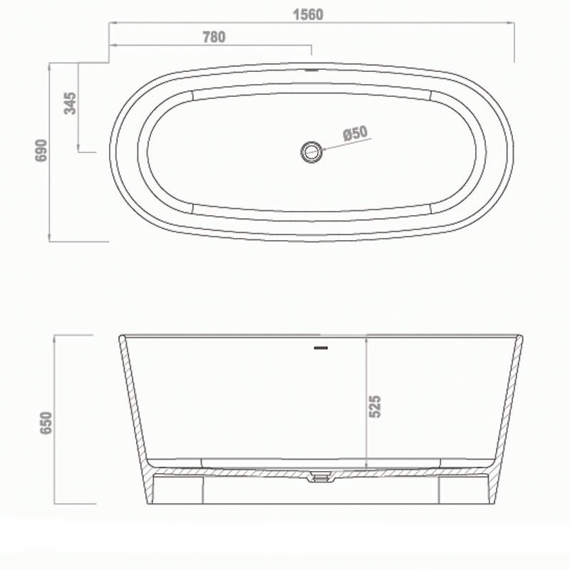 Free-standing Bathtub BS-S02 1560
